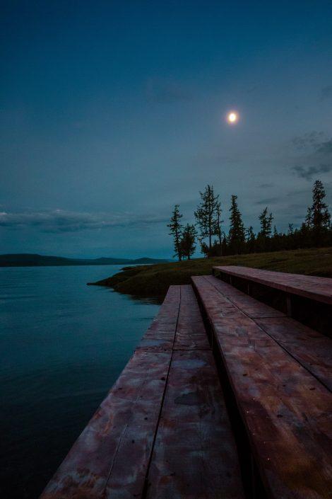 Lever de lune au campement n°1, Lac Khövsgöl