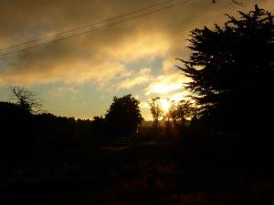 Vue de notre maison au coucher du soleil